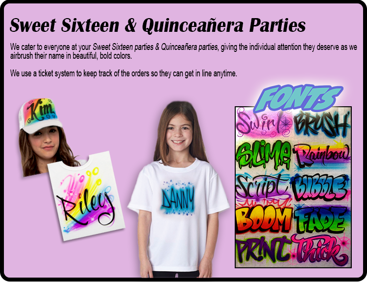 Sweet Sixteen & Quinceañera Parties Airbrushing NY